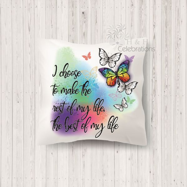 Rest Of My Life Rainbow Butterfly Cushion
